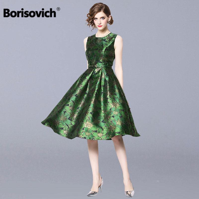 Borisovich Women Causal Dress New Brand 2019 Spring Fashion Sleeveless Big Swing A line Elegant Ladies