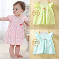 2016 New infant clothing dot pattern baby dresses summer clothes 0 - 2  free shipping