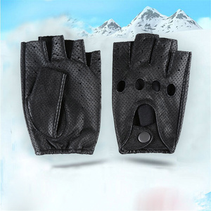 Image 4 - Breathable Hollow Men And Women Genuine Leather Gloves Wrist Half Finger Gloves Solid Neutral Adult Fingerless Y 10 5