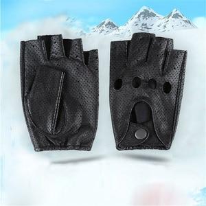 Image 4 - Breathable Hollow ผู้ชายและผู้หญิงของแท้หนังถุงมือครึ่งถุงมือ Solid Neutral ผู้ใหญ่ Fingerless Y 10 5