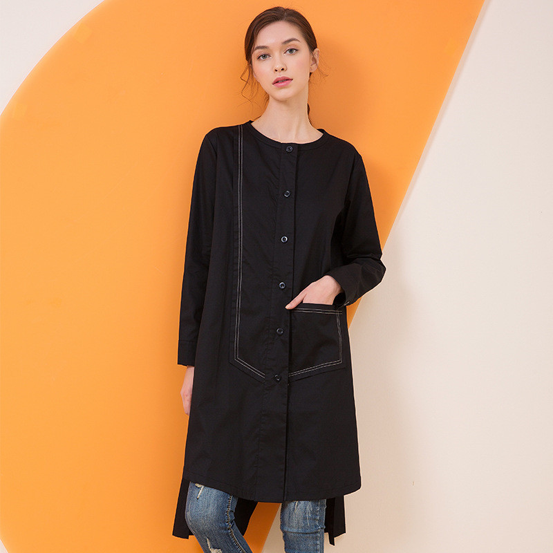 2019 Spring Autumn fashion Long Women   Trench   Coats Female hem Split Fork Large Size Casual Loose Coat Women's Clothing x877