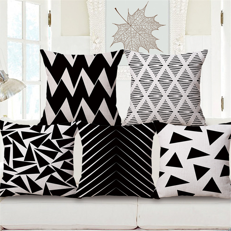 ٩(^‿^)۶Nórdico blanco y negro geométrica Plaid Decoración Oficina ...