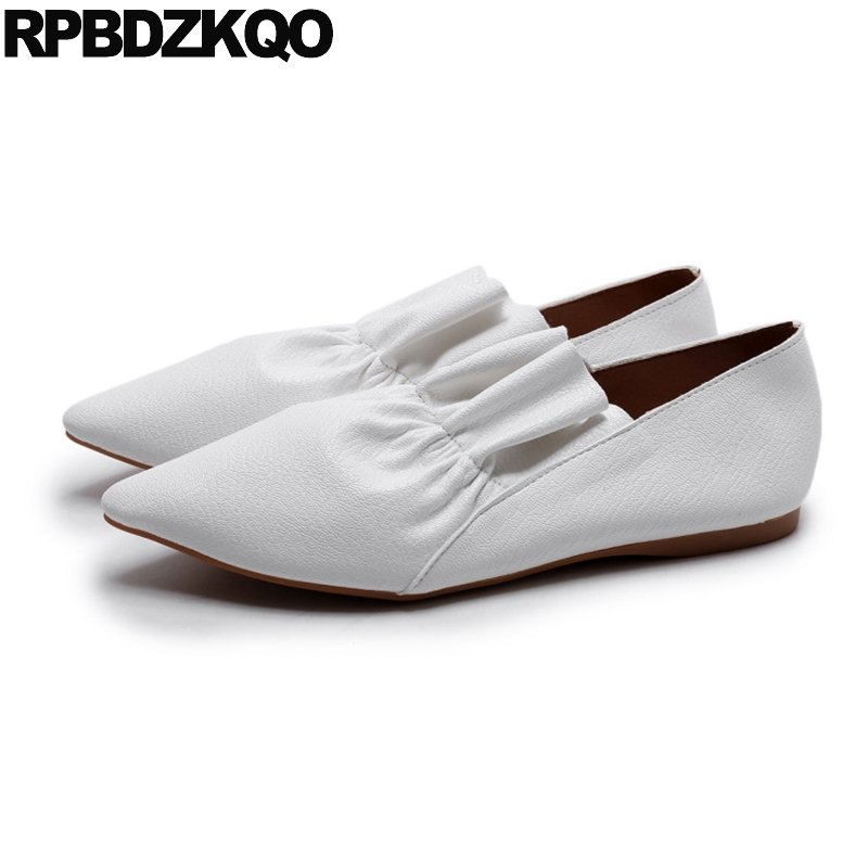 Pointed Toe Flats White Women Slip On Genuine Leather Ladies Beautiful Shoes Chic 2017 Fashion Shallow European Drop Shipping women flats genuine leather shoes womens summer shoes pointed toe flats ladies cross elastic band footwear for pregnant women