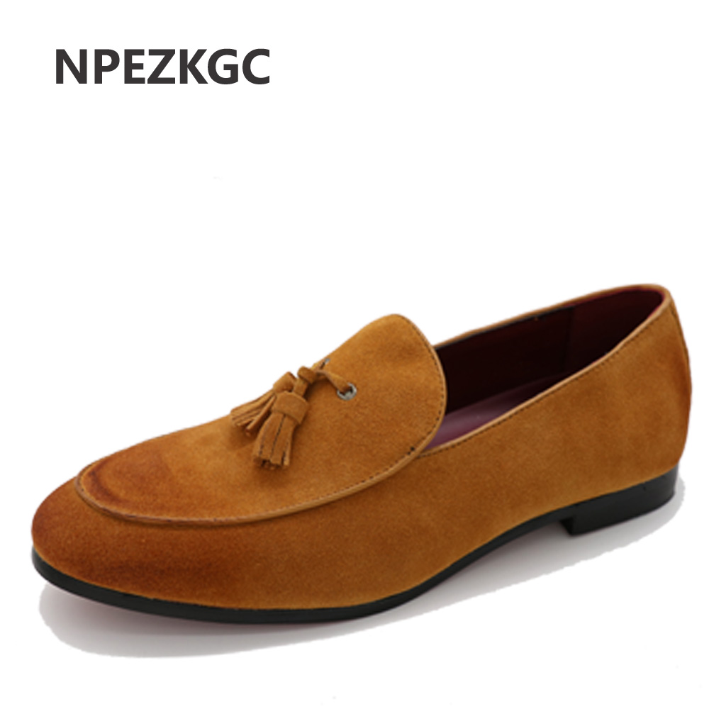 NPEZKGC High Quality Leather Men Flats Shoes Brogues slip on Bullock Business Men Oxfords Shoes Men Dress Shoes