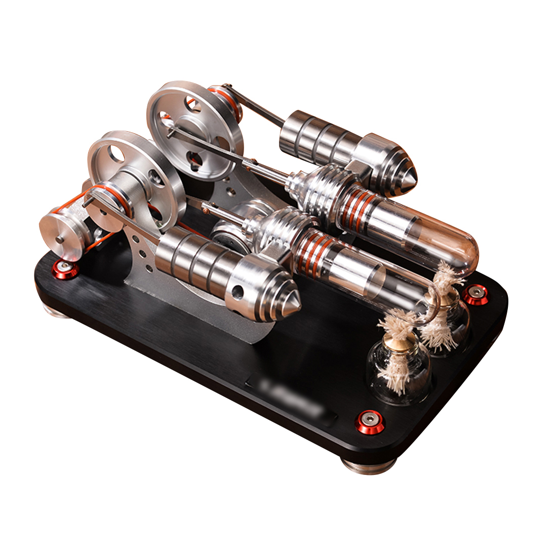 Metal 2-cylinder Parallel Bootable Stirling Engine Model Micro External Combustion Engine Model
