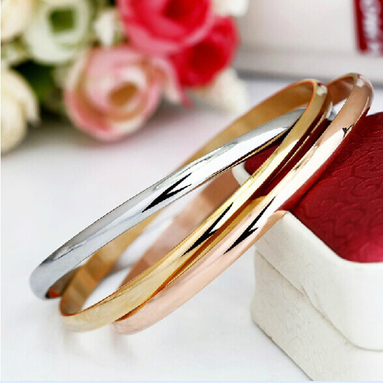polished round bracelet bangles tricolor bangle karat collections gold tube