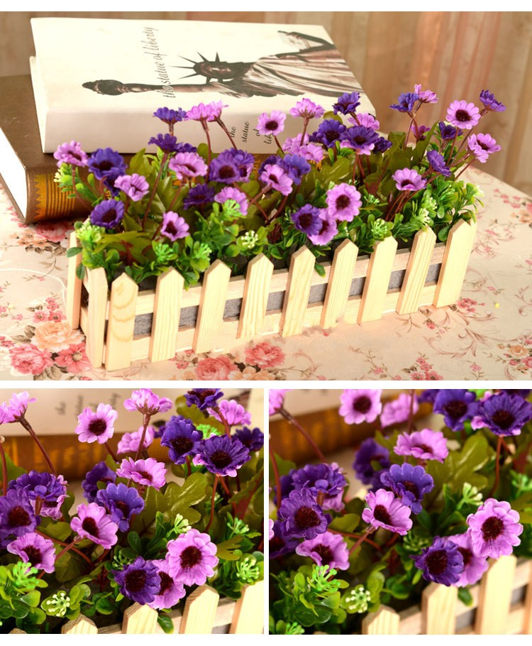 valla de madera de seda prpura de la camelia crisantemo artificial jardn de flores trajes