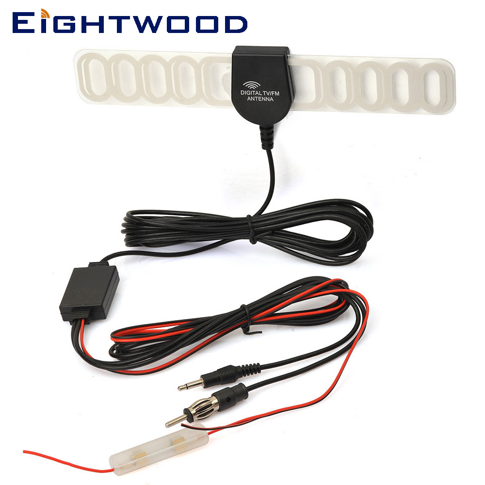 Eightwood Car Auto Antenna Aerial For Digital TV FM DVB-T T2 DVD Radio Booster Amplifier Windshield Mount MPEG2 MPEG4 GPS TMC
