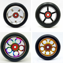 50PCS 100/110*24m Freestyle Stunt Scooter Wheel High Elastic PU Aluminum Alloy Hub With 608 ABEC-9 Bearings 88A Skates Wheels