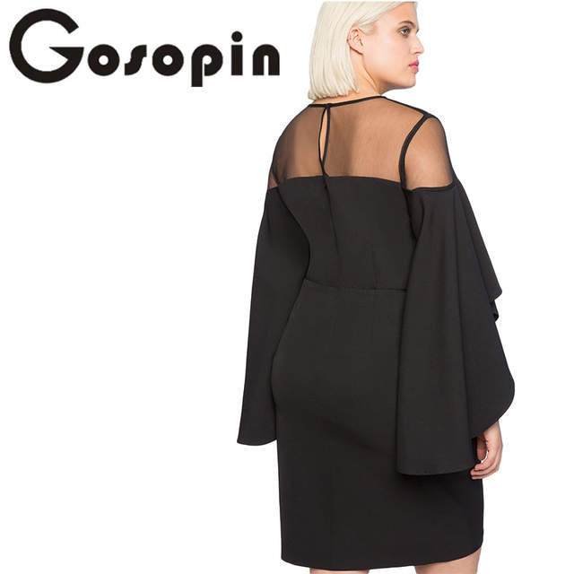 61632183f42ab Gosopin Cold Shoulder Plus Size Dress Party Women Autumn Elegant Dresses  Black Three Quarter Sleeve Office Lady Dress LC220395