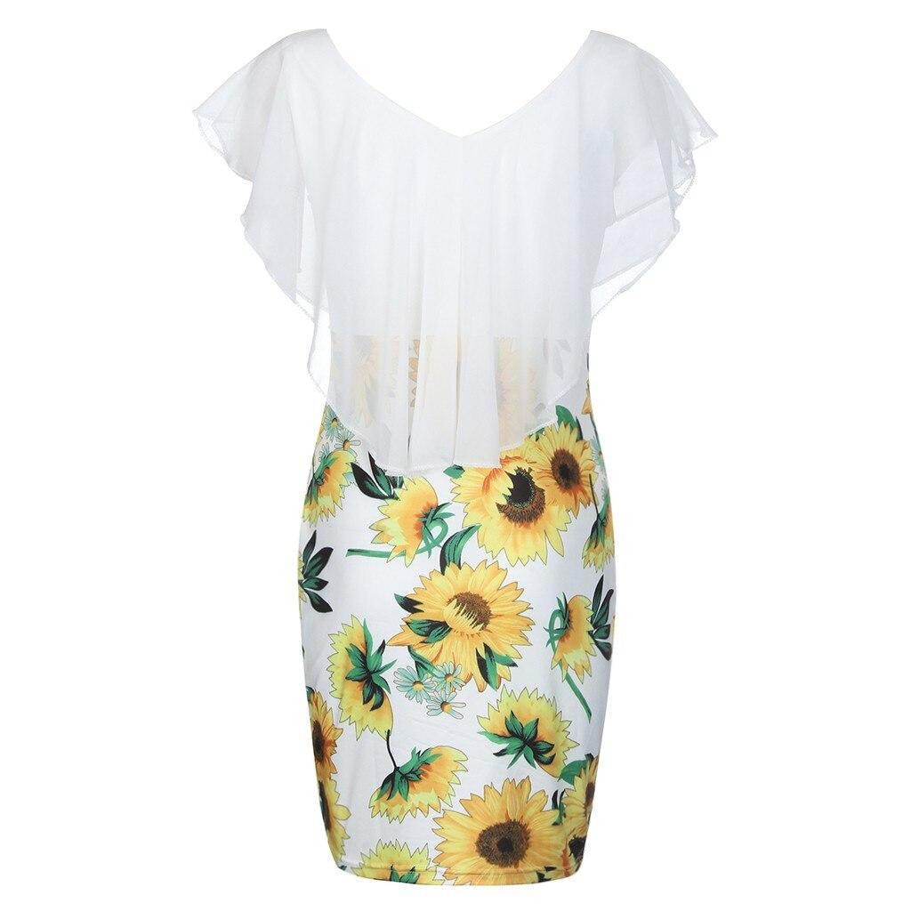 Sexy Womens Sunflower Summer Bodycon Dress Sleeveless Printed Holiday Party Short Mini Dresses Ruffle Summer Dress 2019 Vestido
