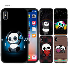 Black Rubber Soft Silicone Case Bag Cover for iPhone XS XR X 7 8 6 6S 5C 5E 5S 5 Plus Max Shell Fundas New China cute panda(China)