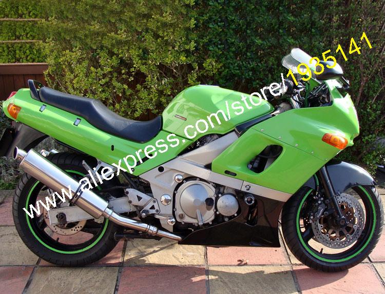 Горячие продаж,для Kawasaki ниндзя zzr400 с 1993-2003 СЗР 400 93-03 СЗР-400 зеленый черный мотоцикл кузова Обтекателя (литье под давлением)