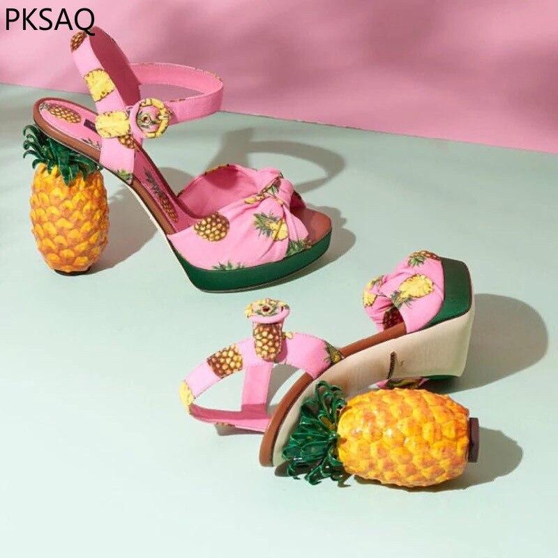 Новинка, летние женские розовые туфли-лодочки с ананасом, женские босоножки на высоком каблуке с фруктами, модная обувь в необычном стиле, к...
