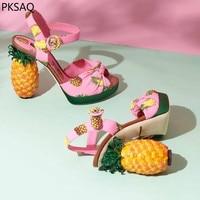 Новинка, летние женские розовые туфли лодочки с ананасом, женские босоножки на высоком каблуке с фруктами, модная обувь в необычном стиле, к