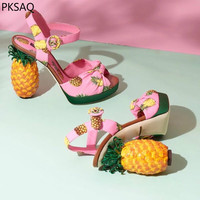 New Summer Ladies Pink Pineapple Pumps Fruit High Heels Women's Sandals Fashion Strange Style Model Show Sweet Party Shoes B