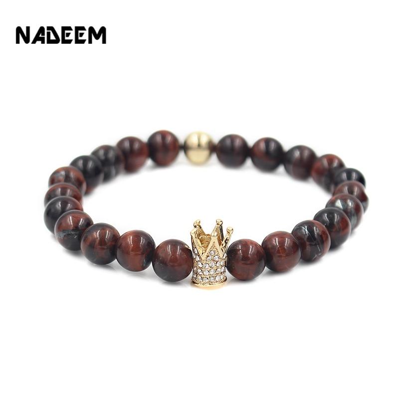2016 New Fashion Red Tiger Eye Stone Bead Bracelet For Men Imperial Crown Braiding Macrame Strand Elastic Bracelets Gift Jewelry men beaded bracelet red