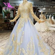 AIJINGYU białe suknie ślubne Boho z długim rękawem satynowe nowe luksusowe suknie ślubne dubaj skromne suknie ślubne bufiaste suknie ślubne tanie tanio Sąd pociąg Organza z haftem Wysoka Długość podłogi Pełna Lace up Draped Koronki Ruched Illusion TN1396 Księżniczka
