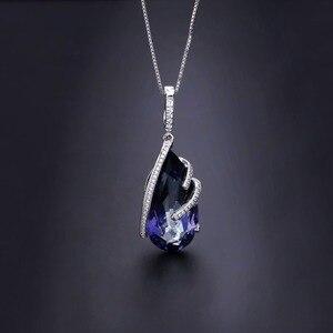 Image 3 - Gem S Ballet 17.8Ct Natuurlijke Ioliet Blue Mystic Quartz 925 Sterling Zilveren Vintage Kettingen Voor Vrouwen Fijne Sieraden