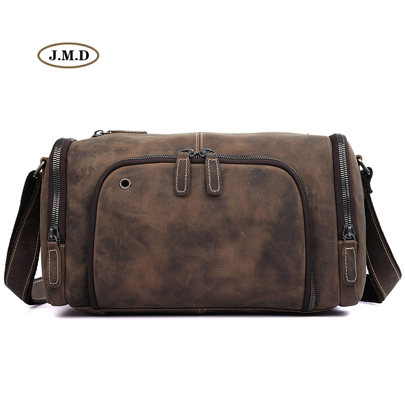 Augus Genuine Cow Leather Classic Brown Men's Fashion Special Design Business Travel Bag Computer Bag Shoulder Bag Handbag 1020R