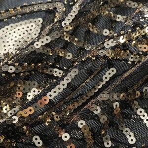 Image 3 - JaneVini Elegant Black Gold Bolero Sparkle Sequined Bridal Wraps Beaded Wedding Cape Shawls Cloak for Evening Party Accessories