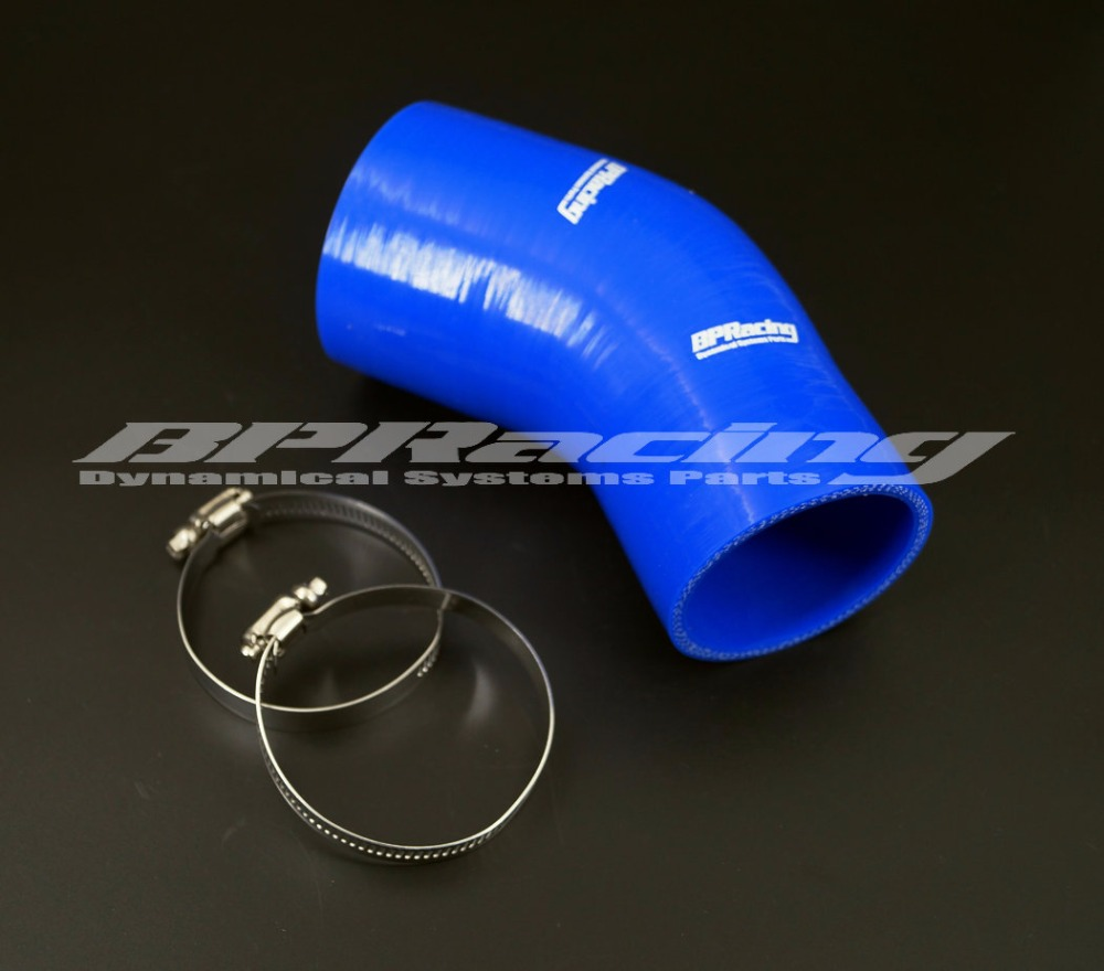 Black 3 to 2.5 Inch 45 Degree Silicone Elbow Reducer Hose Coupler Intercooler Pipe Turbo