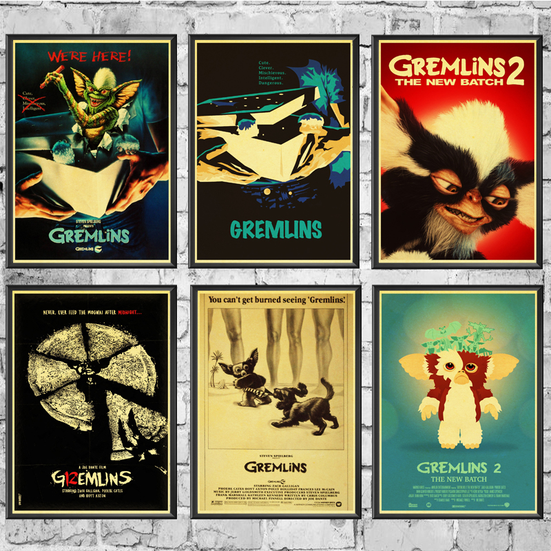 Movie Film Gremlins Retro Poster Prints High Quality  Wall Stickers  For Living Room Home Decoration