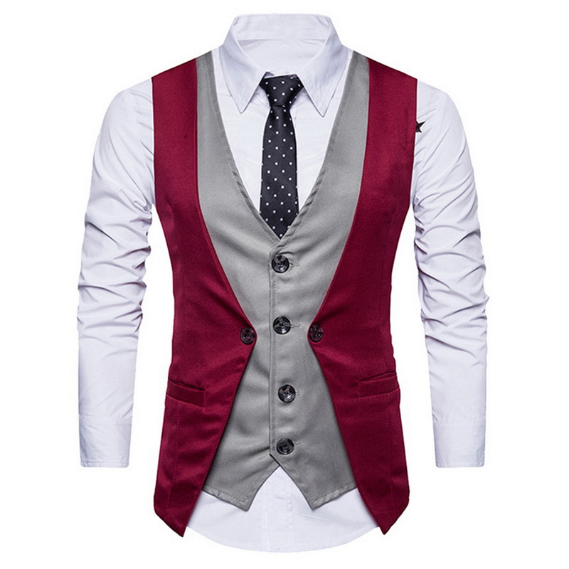 LASPERAL Suit Vest Costume Waistcoat Men Classic Vintage Casual Gilet Slim-Fit Business