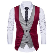 LASPERAL Patchwork Classic Fake Two Vest Waistcoat Men Vintage Slim Fit Suit Vest Casual Gilet Costume Business Wedding Vest