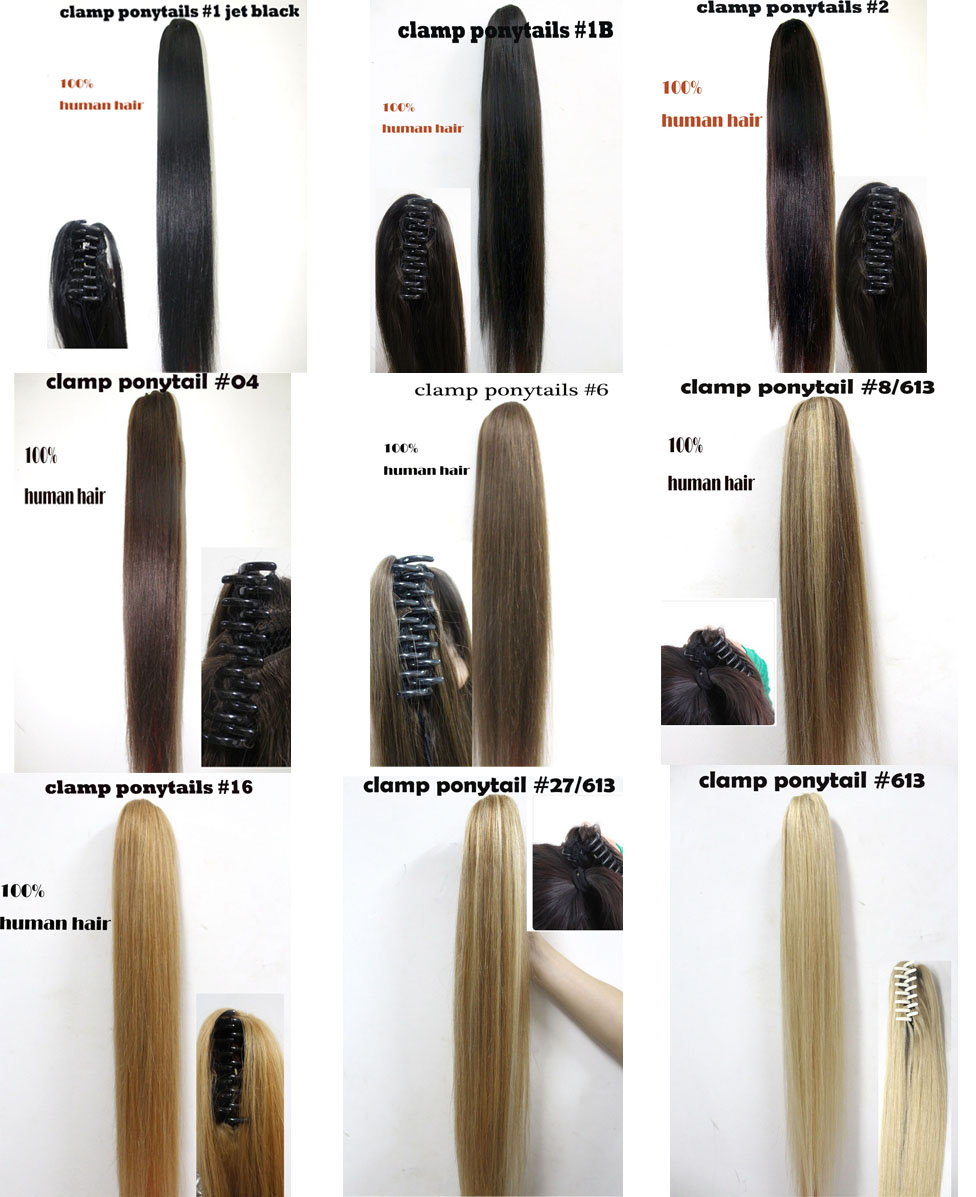 hotsale free shipping 100% indian remy grip chuck horstail/ponytail human hair extension 120g
