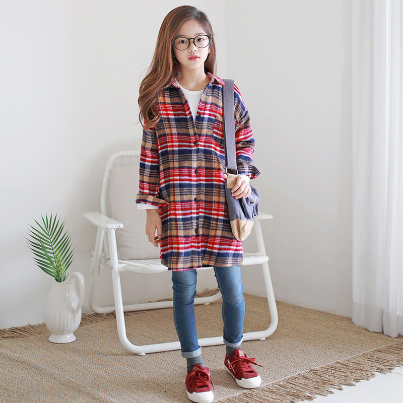 e6c56d02 2018 New Baby Autumn Shirt Thickened Children Plaid Shirts Long Style Girl  Coat Long Sleeve Kid Casual Tops Toddler Shirts,#3385