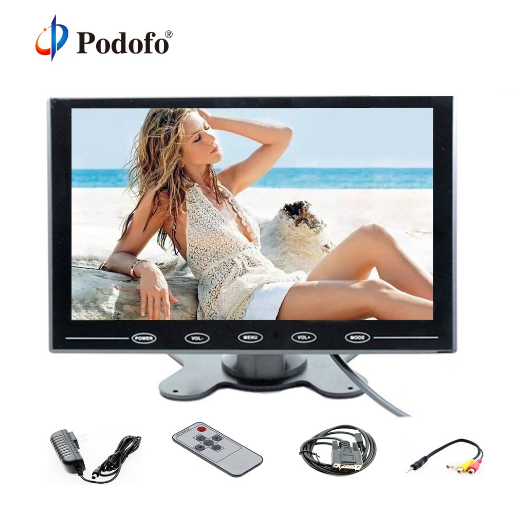 Podofo 9 LCD Monitor TFT Mini Color Display Screen Monitor 2 Video Input Monitor For PC CCTV HDMI AVIn Touch Screen DisplayPodofo 9 LCD Monitor TFT Mini Color Display Screen Monitor 2 Video Input Monitor For PC CCTV HDMI AVIn Touch Screen Display