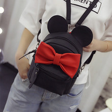 2016 New mini backpack female bag quality pu leather women backpacks Korean version of Mickey ears sweet bow College Wind