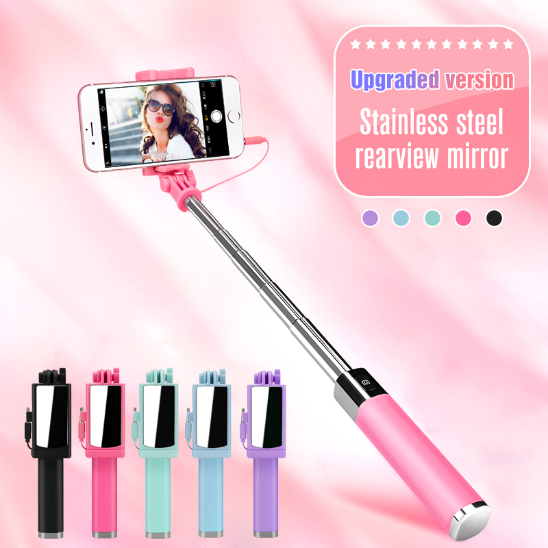 GoodKE Mini Portable Folding Wire Control Non-Slip Handle Selfie Stick for Phone Monopods