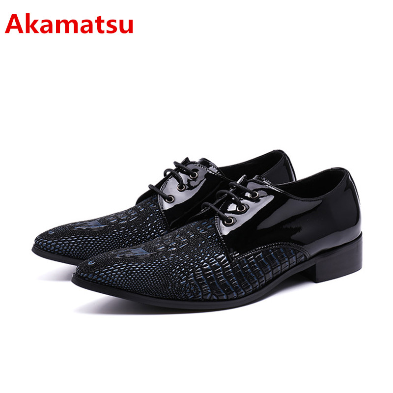 Здесь можно купить  Akamatsu mens pointed toe dress shoes red balck genuine leather lace up oxford shoes for men formal wedding italy loafers size47  Обувь