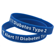 1PC Type 2 Diabetes Silicone Rubber Wristband Adult Size