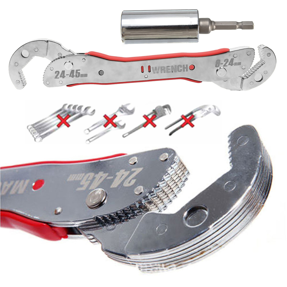 Onnfang Self-Adjustable Purpose Magic Spanner Multi-function Wrench Tool Universal Wrench Hot Socket Pipe Wrench Home Hand Tool