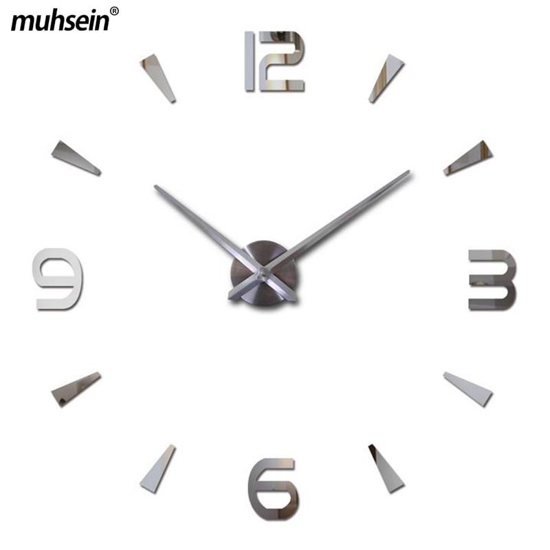 musein Super Big DIY Orologio da parete Acrilico + EVR + Metallo specchio Super Big Orologi digitali personalizzati Freeshipping