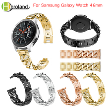 Watchband For Samsung Galaxy Watch 46mm band Bracelet for Gear S3 Stainless Steel Replace metal wirst with White diamond