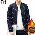 EU US Size Autumn Winter Jacket Men Zipper Fleece Liner Color Geometric Print Slim Fit Casual Coats Baseball Jacket #161983
