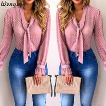 Wenyujh Women Blouses 2019 Fashion Long Sleeve V-neck Pink Shirt Chiffon Office Blouse Slim Casual Tops Plus Size S-5XL(China)