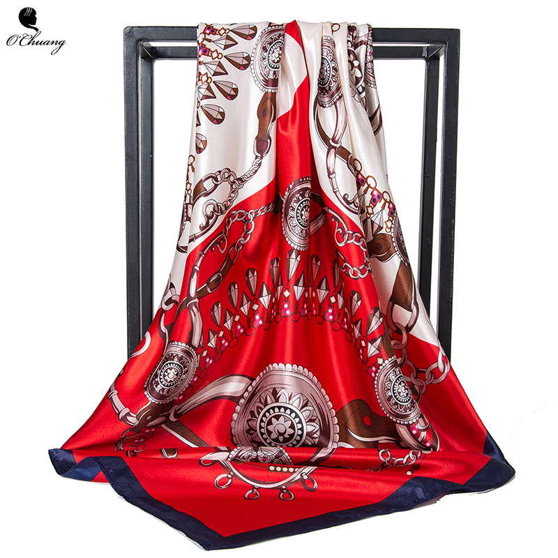 O CHUANG Women Scarf Print Foulard Luxury Designer Big Bandana Hijab Satin Square Head Silk Scarves Woman Shawl 90*90cm