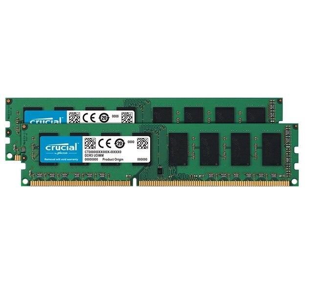 Crucial CT2K51264BD160B, 8 GB, 2x4 GB, DDR3, 1600 MHz, DIMM 240 broches, noir, vert