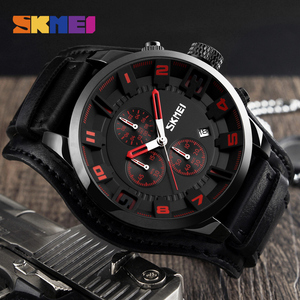 Image 4 - SKMEI New Fashion Sport Quartz Watches Men Luxury Business Leather Watch Waterproof Wristwatches Male Clock Relogio Masculino