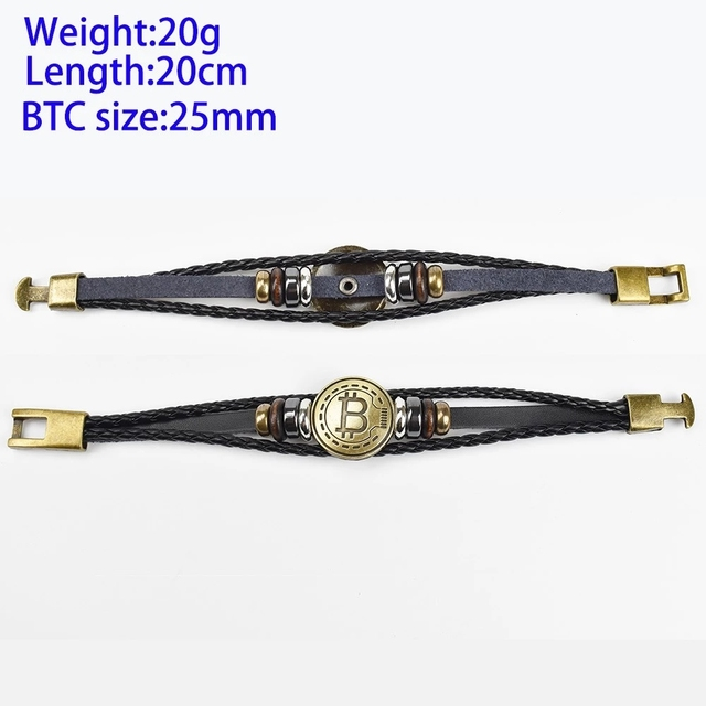 2019 New Bitcoin Bit Coin Bracelet Antique Brass Bracelets Handmade Gift Cryptocurrency Coin 3