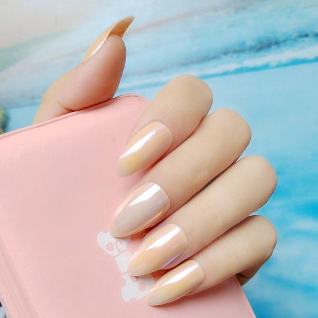 Holographic Nude Acrylic Fake Nails Chameleon Mirror Stiletto Short Size False Nail Tips DIY Manicure