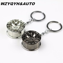 Car Styling 3D Metal Keychain Cool Luxury Wheel Hub Key Ring Fit For VW Audi Seat Toyota Honda Ford Key Holder Accessories