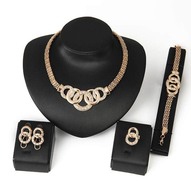New Brand Exaggerated Big Choker Trendy Round Shape Necklace Bracelet Earring Ring Set Party Costume Jewelry N199