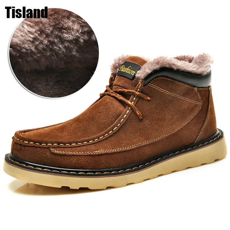 Mens Boots Casual Fashion Warm Autumn Winter Outdoors Ankle Boots Men Lace Up Snow Botas Zapatos