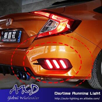 Car Styling for Honda Civic 10G rear reflector for New Civic mustang rear bumper light DRL brake lamp +Rear Bumpe Reflector